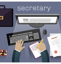 Secretary work view top flat design vector