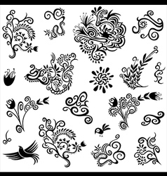 Decorative floral organic natural designs with flo vector