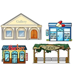 A gallery drug store barber shop and zoo vector image vector image