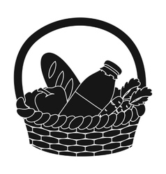 Basket with products icon in black style isolated vector image