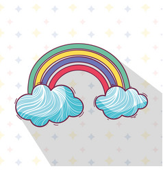 Beautiful rainbow with nice clouds vector
