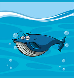 Blue whale with dizzy face in the sea vector