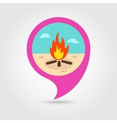 Bonfire pin map icon Summer Vacation vector image vector image