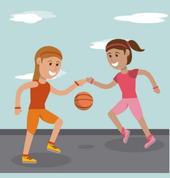 Cartoon girls playing basketball sport image vector