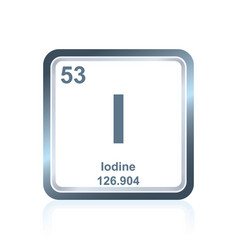 Chemical element iodine from the periodic table vector