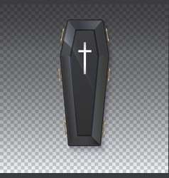 coffin icon with a metal crucifix and handles on vector image vector image
