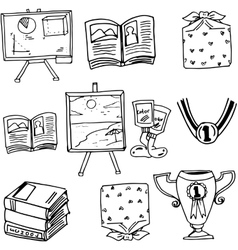 Doodle school education book vector