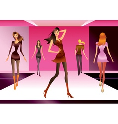 Fashion models in review of a new collection vector image vector image