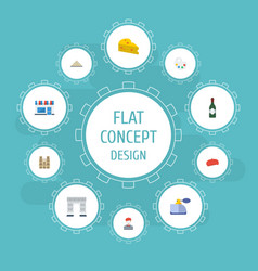 Flat icons palette restaurant cheddar and other vector