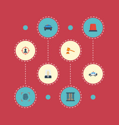 Flat icons suspicious thumbprint jail and other vector