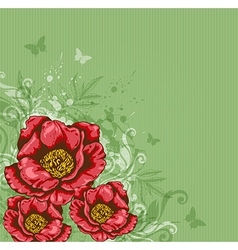 green background with red flowers vector image vector image