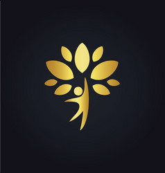 Happy man tree organic gold logo vector