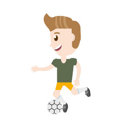 Isolated man playing soccer cartoon vector
