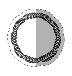 Laurel crown round label decoration thin line vector