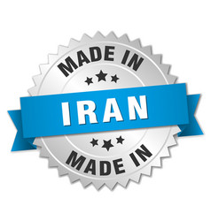 Made in iran silver badge with blue ribbon vector