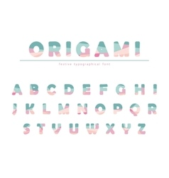 Modern origami festive font in pastel colors vector image vector image