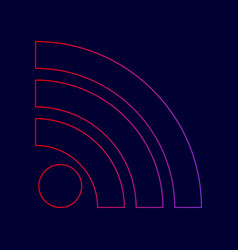 Rss sign line icon with vector
