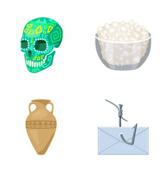 Skull bowl of cottage cheese and other web icon vector
