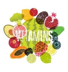 Vitamins fruit grunge style poster vector
