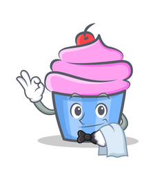Waiter cupcake character cartoon style vector