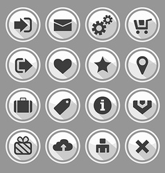 Web design round buttons white set vector