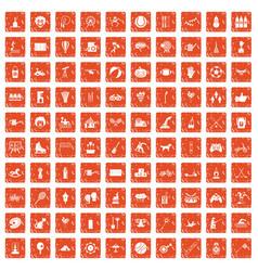 100 kids activity icons set grunge orange vector image vector image