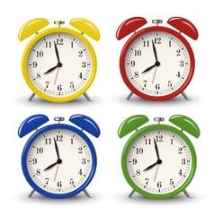 Yellow blue green red retro alarm clocks vector image
