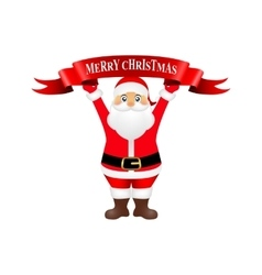 Santa claus holding a ribbon with congratulation vector