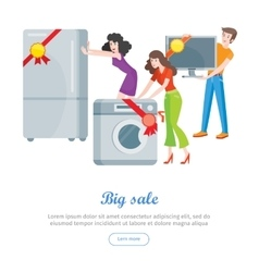 Supermarket sale banner household appliances vector
