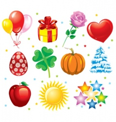 set holiday icons vector image