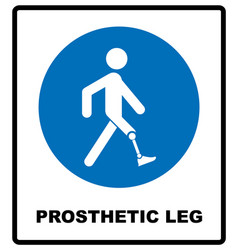 Prosthetic leg sign mandatory blue symbol vector