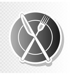 fork knife and plate sign  new year vector image
