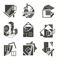 Logos in the form of houses vector