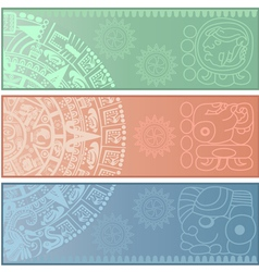 Banners with ancient American ornaments vector image