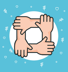Hands symbol peace unity community vector