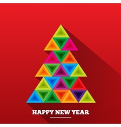 Christmas tree in rainbow triangles vector