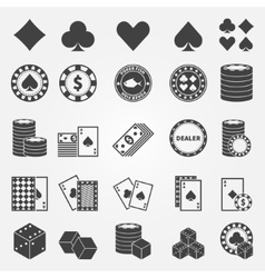 Poker icons set vector