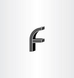3d black letter f icon vector