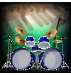 Abstract music background with blue drum kit vector