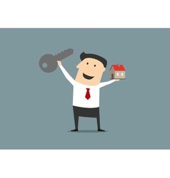 Businessman with a key and house vector