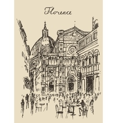Streets florence italy trevi fountain hand drawn vector