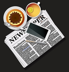 Newspaper and mobile phone with tea and pudding vector
