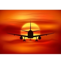 Black plane silhouette at red sunset background vector image