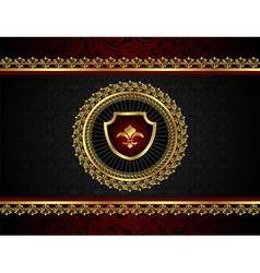 golden vintage frame with shield - vector image
