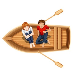 Man and woman sitting on the boat vector