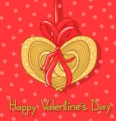 Card for valentines day with cookie vector