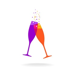 Two champagne colorful glasses with bubble vector