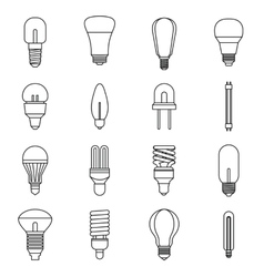 Light bulb icons set outline style vector