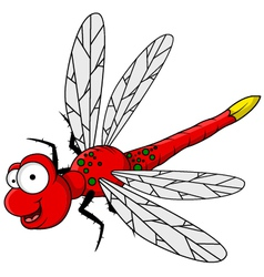 Funny red dragonfly cartoon vector