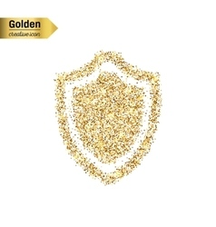 Gold glitter icon of shield isolated on vector